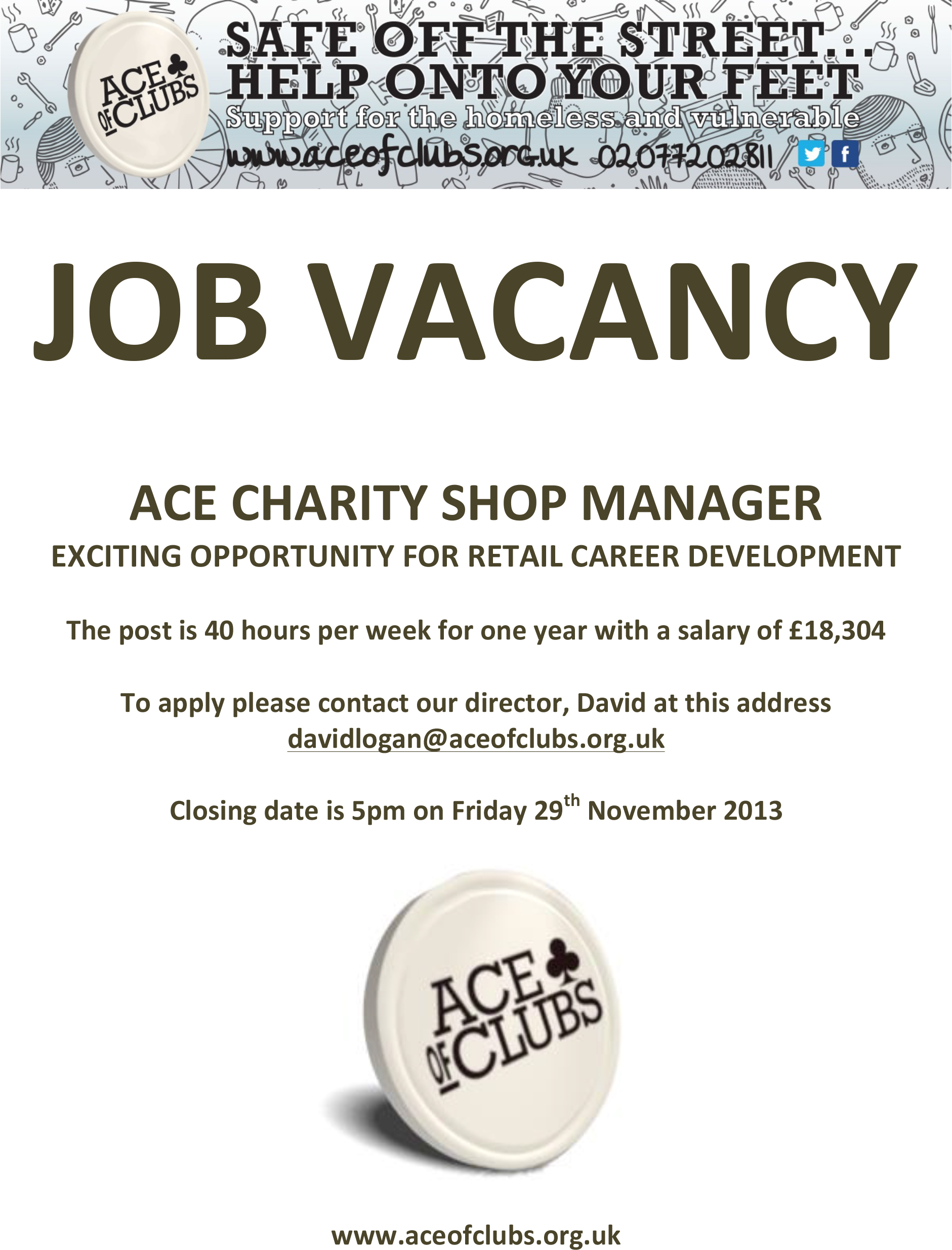 two ace job vacancies apply now ace of clubs anyone